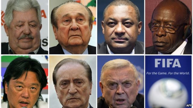 Fifa officials (LtoR, from upper row) Rafael Esquivel, Nicolas Leoz, Jeffrey Webb, Jack Warner, Eduardo Li, Eugenio Figueredo and Jose Maria Marin. May 27, 2015. (AFP)