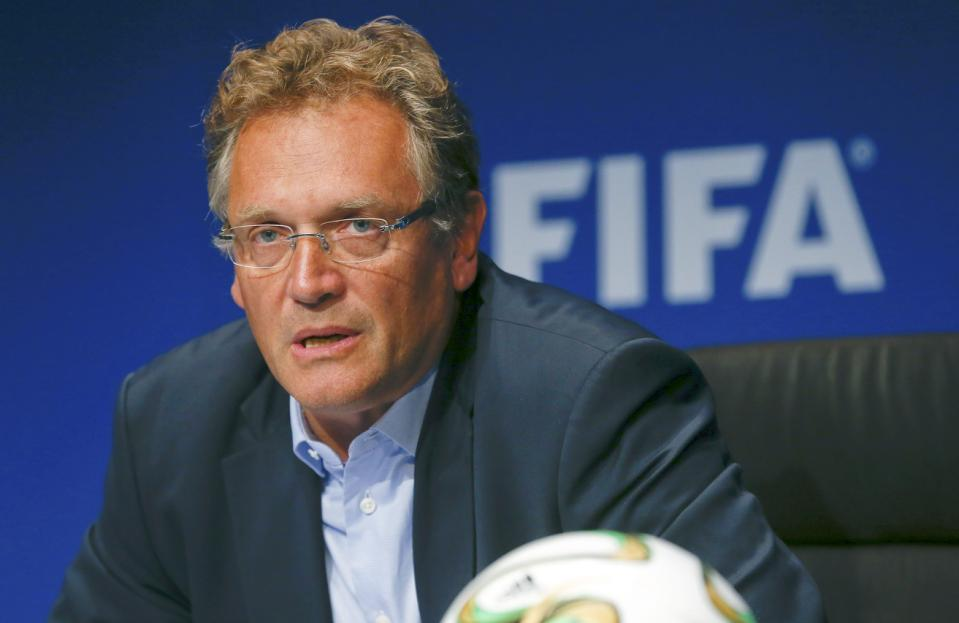 FIFA Secretary General Jerome Valcke.(Photo/Reuters/Arnd Wiegmann)