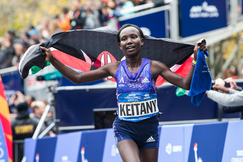 Kenyan Mary Keitany celebrates winning the women's title at the New York City Marathon on Sunday November 1, 2015. (Getty Images/Elsa)