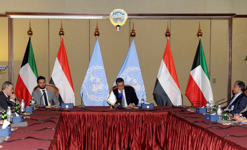 UN special envoy for Yemen, Ismail Ould Cheikh Ahmed (C), attends peace talks with delegations in Kuwait City on July 17, 2016 (Photo/AFP)