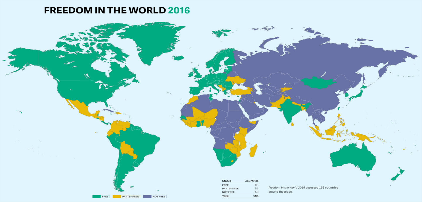 Freedom House's index of freedom in the world is flawed — but the story it tells is indispensable. (Image: Freedom House)