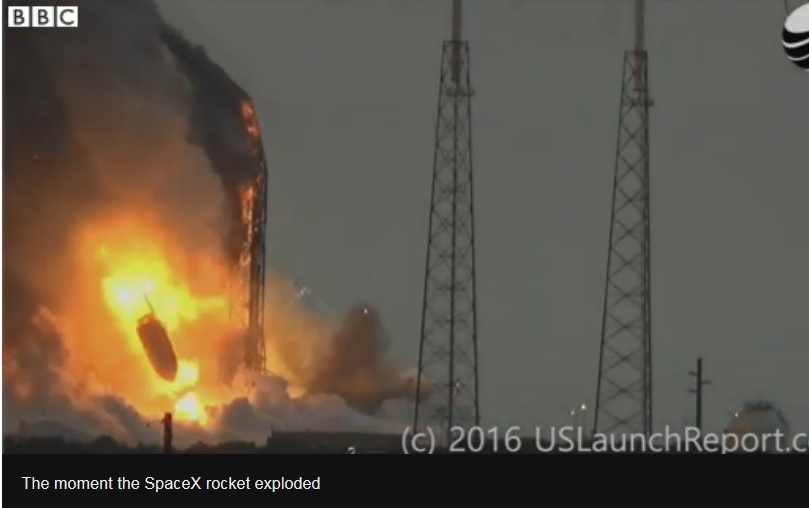 SpaceX explosion destroys the AMOS-6 satellite to deliver broadband connectivity to hard-to-reach parts of sub-Saharan Africa. The explosion sets back Facebook's Internet Push in Africa.(Image BBC)