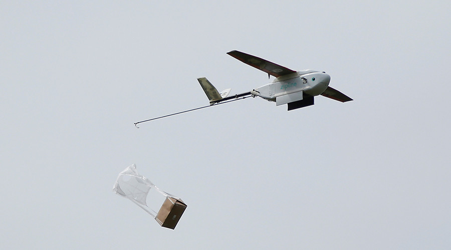 Zipline delivery drone. (Photo/REUTERS/Stephen Lam)