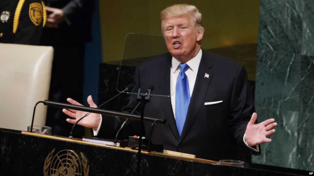 President Donald Trump speaks to the United Nations General Assembly, September 19, 2017, in New York City. (AP)