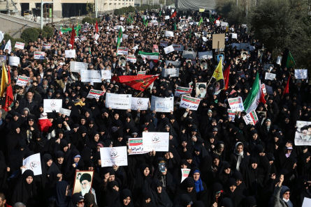 Iranian protesters chant slogans at a rally in Tehran, Iran, December 30, 2017. (AP/Ebrahim Noroozi)
