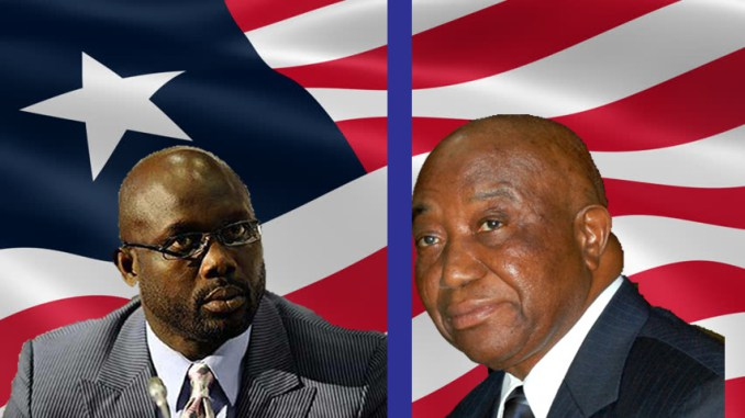 Liberian presidential candidate former football star George Weah (L) and Vice-President Joseph Boakai. (Getty Images)