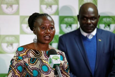 Kenyan Independent Electoral and Boundaries Commission(IEBC)commissioner Roselyn Akombe and chairman Wafula Chebukati.(Reuters/Thomas Mukoya)