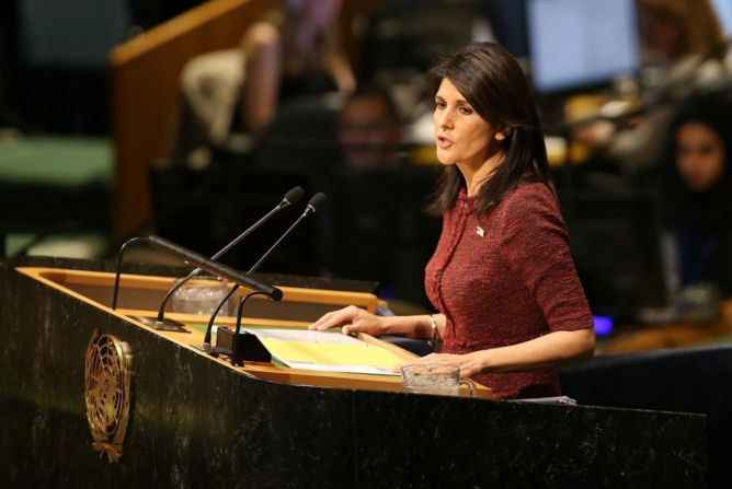 Nikki Haley, U.S. ambassador to the United Nations, speaks on the floor of the General Assembly on December 21, 2017 in New York City. (Getty Images/Spencer Platt)