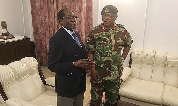 Robert Mugabe talks to General Constantino Chiwenga at State House in Harareon  November 16, 2017. (Zimpapers Herald)