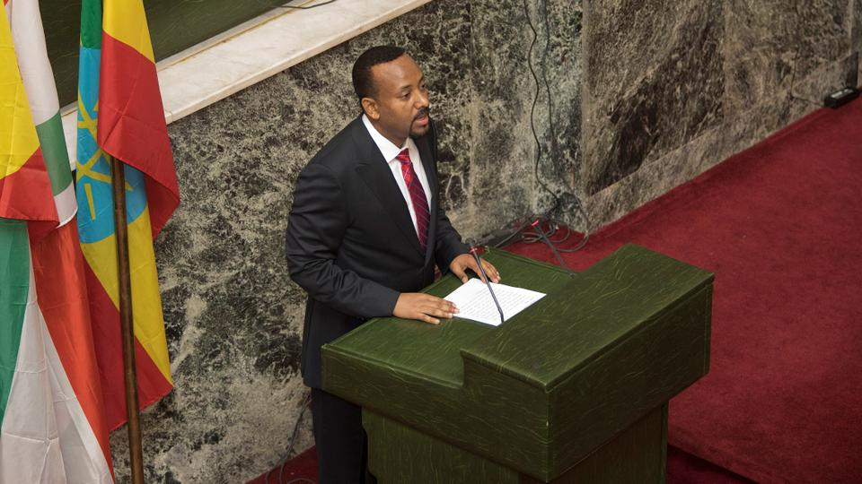 Abiy Ahmed, newly elected Prime Minister of Ethiopia, addresses the house of parliament in Addis Ababa, after his swearing-in ceremony on April 2, 2018. (AFP)