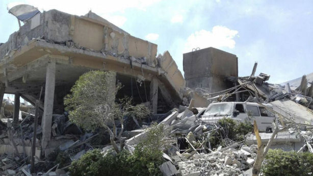 This photo released by the Syrian official news agency SANA shows the damage to the Syrian Scientific Research Center, which was attacked by U.S., British and French military strikes,Syria, April 14, 2018. (AP)