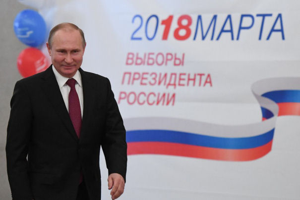 Russian President and Presidential candidate Vladimir Putin at a polling station during the presidential election in Moscow, Russia March 18, 2018. (Reuters)