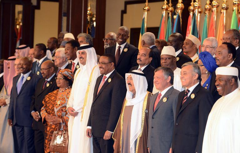 Arab and African leaders pose for a group picture ahead of the Arab-African summit at Bayan Royal Palace in Kuwait city on November 19, 2013. (AFP/ Yasser Zayyat)
