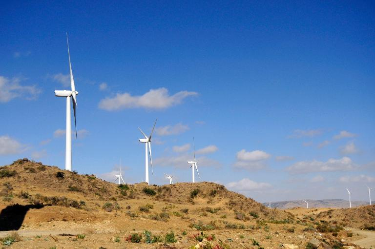 Ashegoda wind farm in Ethiopia's northern Tigray region on November 28, 2013. (AFP/Jenny Vaughan)