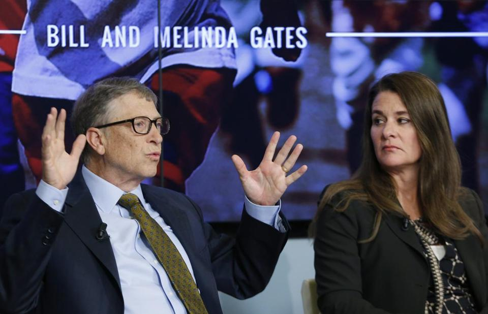 Bill and Melinda Gates attend a debate on the sustainable development goals in Brussels. January 22,  2015. (Reuters)