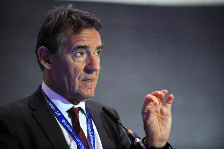 Economist Jim O'Neill speaks about Nigerian economy during the African Finance Corporation's first conference on infrastructure investment in Lagos on March 25, 2014 (AFP/Pius Utomi Ekpei)