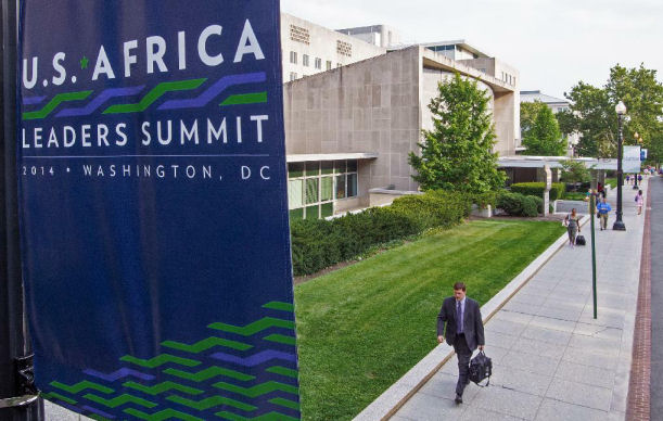 A sign is seen promoting the US-Africa Leaders Summit 2014 outside the US Department of State  in Washington (AFP/Paul J. Richards )