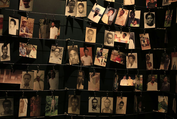 Photographs of people who were killed during the 1994 Rwandan genocide. (Photo: Reuters/Noor Khamis )