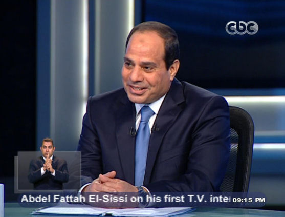File - May 5, 2014. Egypt's Abdel-Fattah el-Sissi during an interview in a nationally televised program in Cairo, May 5, 2014. (AP/Egypts State Television)