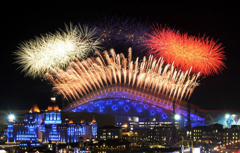 Fireworks explode over the Fisht Olympic Stadium at the begining of the Opening Ceremony of the Sochi Winter Olympics on February 7, 2014 in Sochi.(AFP/Alexander Nemenov)